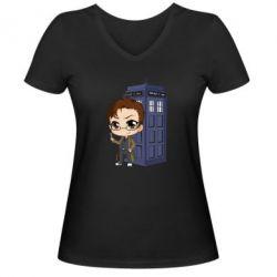 Жіноча футболка з V-подібним вирізом Doctor who is 10 season2