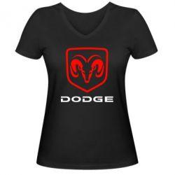 Женская футболка с V-образным вырезом DODGE - FatLine