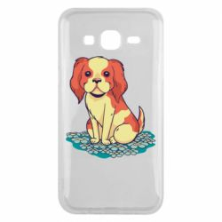 Чехол для Samsung J5 2015 Dog and field with flowers