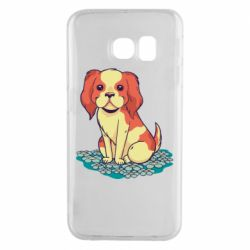Чехол для Samsung S6 EDGE Dog and field with flowers