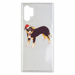 Чехол для Samsung Note 10 Plus Dog in christmas hat