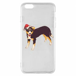 Чехол для iPhone 6 Plus/6S Plus Dog in christmas hat