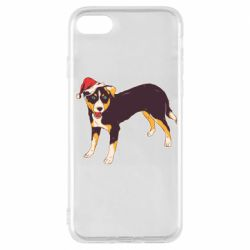 Чехол для iPhone 7 Dog in christmas hat