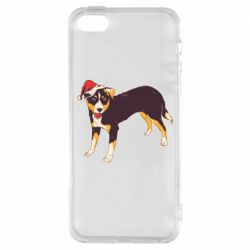 Чехол для iPhone5/5S/SE Dog in christmas hat