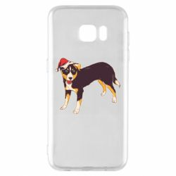 Чехол для Samsung S7 EDGE Dog in christmas hat