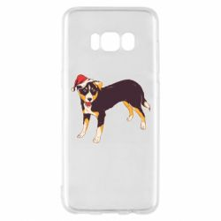 Чехол для Samsung S8 Dog in christmas hat