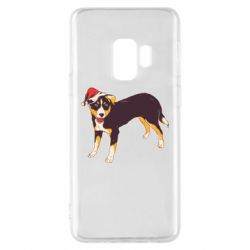 Чехол для Samsung S9 Dog in christmas hat
