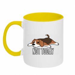 Кружка двухцветная 320ml Dog not today