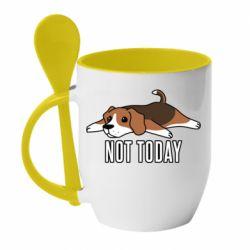 Кружка с керамической ложкой Dog not today