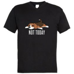 Мужская футболка  с V-образным вырезом Dog not today