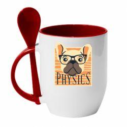 Кружка с керамической ложкой Dog Physicist