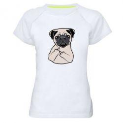 Купить Женская спортивная футболка Dog Portait with middle finger up, FatLine