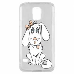 Чехол для Samsung S5 Dog with a bow
