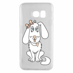 Чехол для Samsung S6 EDGE Dog with a bow