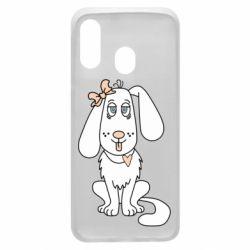 Чехол для Samsung A40 Dog with a bow