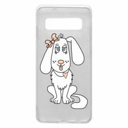 Чехол для Samsung S10 Dog with a bow