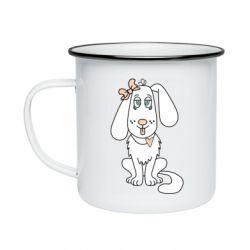 Кружка эмалированная Dog with a bow