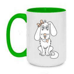 Кружка двухцветная 420ml Dog with a bow