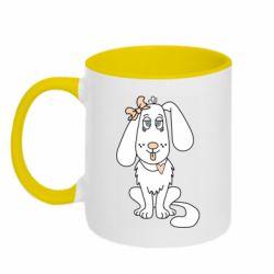 Кружка двухцветная 320ml Dog with a bow