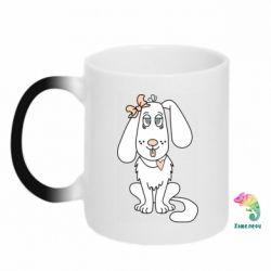Кружка-хамелеон Dog with a bow