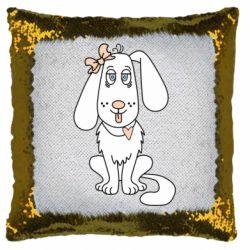 Подушка-хамелеон Dog with a bow