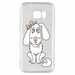 Чехол для Samsung S7 Dog with a bow