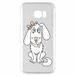 Чехол для Samsung S7 EDGE Dog with a bow