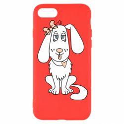 Чехол для iPhone 8 Dog with a bow