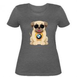 Женская футболка Dog with a collar BMW