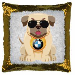 Подушка-хамелеон Dog with a collar BMW