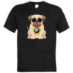 Мужская футболка  с V-образным вырезом Dog with a collar BMW