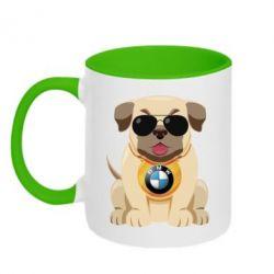 Кружка двоколірна Dog with a collar BMW