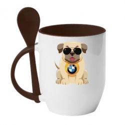 Кружка з керамічною ложкою Dog with a collar BMW