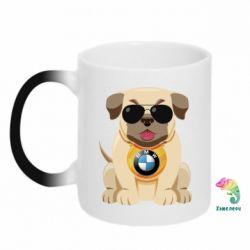 Кружка-хамелеон Dog with a collar BMW