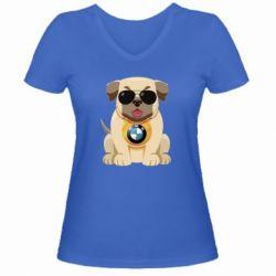 Жіноча футболка з V-подібним вирізом Dog with a collar BMW