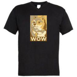 Чоловіча футболка з V-подібним вирізом Doge wow meme