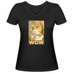 Жіноча футболка з V-подібним вирізом Doge wow meme