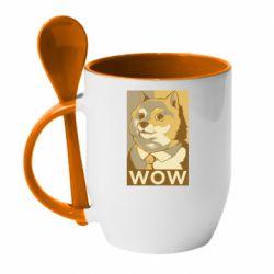 Кружка з керамічною ложкою Doge wow meme