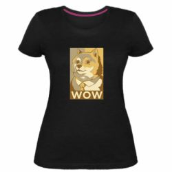 Жіноча стрейчева футболка Doge wow meme