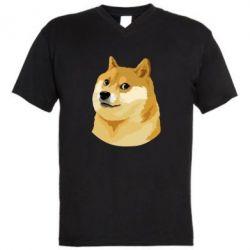 Мужская футболка  с V-образным вырезом Doge - FatLine
