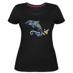 Жіноча стрейчева футболка Dolphin tattoo