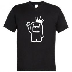 Мужская футболка  с V-образным вырезом Домо Кун с короной - FatLine