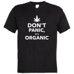 Мужская футболка  с V-образным вырезом Dont panic its organic