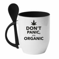 Кружка с керамической ложкой Dont panic its organic