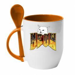 Кружка з керамічною ложкою Doom меов cat