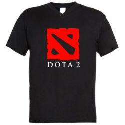 Мужская футболка  с V-образным вырезом Dota 2 Big Logo - FatLine