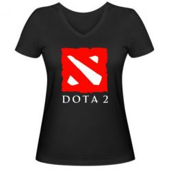 Женская футболка с V-образным вырезом Dota 2 Big Logo