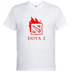 Мужская футболка  с V-образным вырезом Dota 2 Fire - FatLine