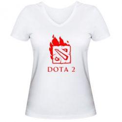 Женская футболка с V-образным вырезом Dota 2 Fire - FatLine