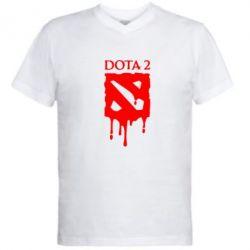 Мужская футболка  с V-образным вырезом Dota 2 Logo - FatLine
